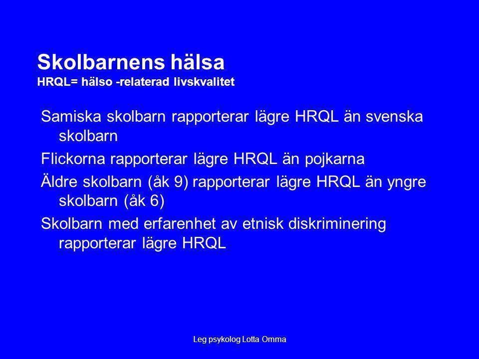 Skolbarnens hälsa HRQL= hälso -relaterad livskvalitet