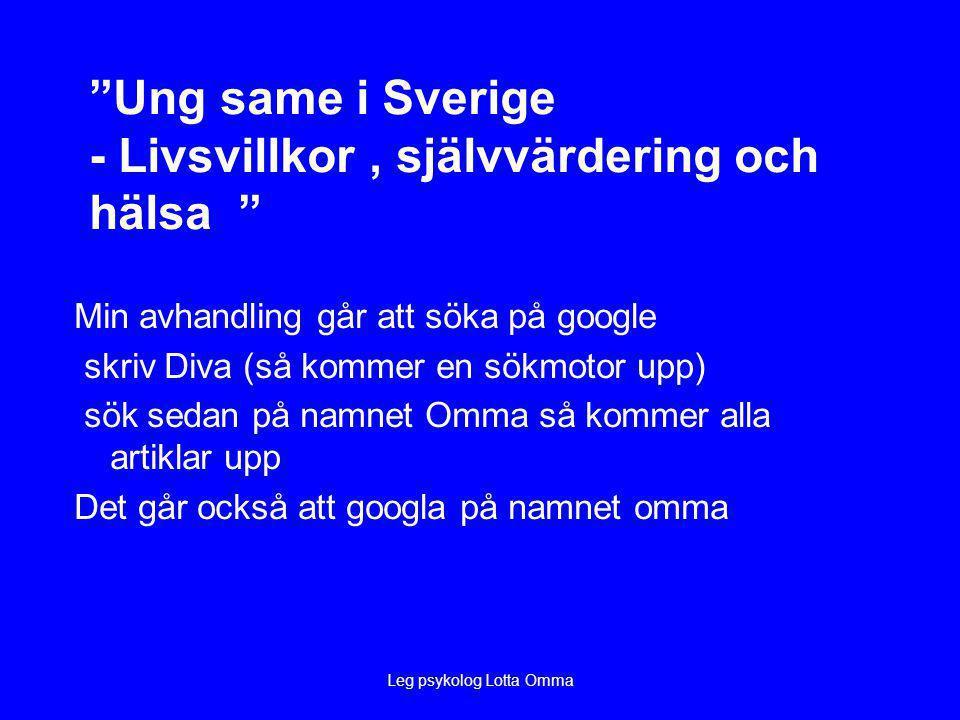 Ung same i Sverige - Livsvillkor , självvärdering och hälsa