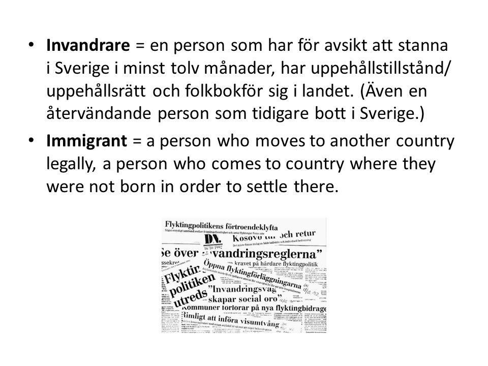 Invandrare = en person som har för avsikt att stanna i Sverige i minst tolv månader, har uppehållstillstånd/ uppehållsrätt och folkbokför sig i landet. (Även en återvändande person som tidigare bott i Sverige.)