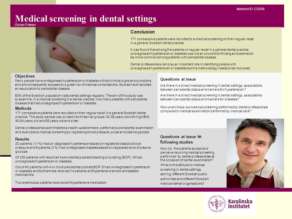 Medical screening in dental settings