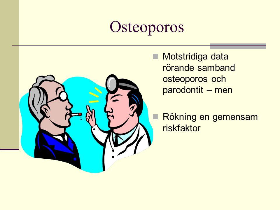 Osteoporos Motstridiga data rörande samband osteoporos och parodontit – men.