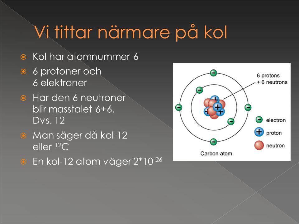 Kol har atomnummer 6 6 protoner och 6 elektroner. Har den 6 neutroner blir masstalet 6+6. Dvs. 12.