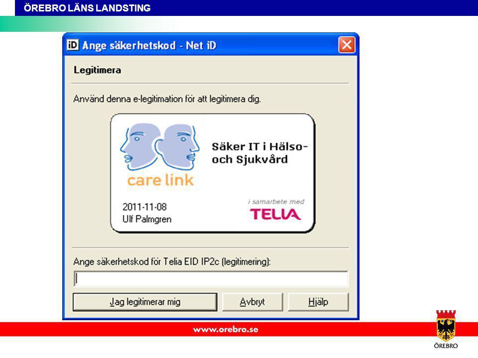 Johan/BrittInger 3 välj SITHS certifikat 4 slå in legitimeringskod (bild)