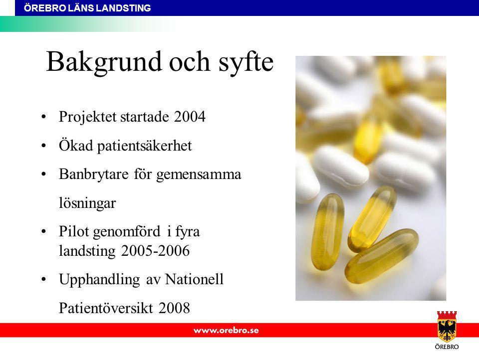 Bakgrund och syfte Projektet startade 2004 Ökad patientsäkerhet