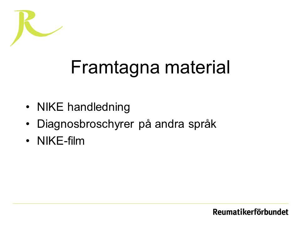 Framtagna material NIKE handledning Diagnosbroschyrer på andra språk