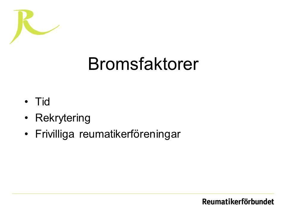 Bromsfaktorer Tid Rekrytering Frivilliga reumatikerföreningar