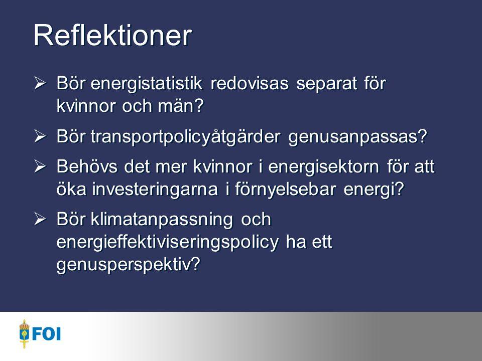 Reflektioner Bör energistatistik redovisas separat för kvinnor och män Bör transportpolicyåtgärder genusanpassas