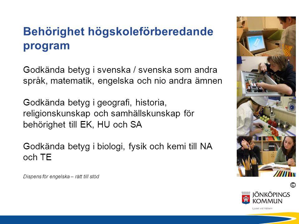 Behörighet högskoleförberedande program