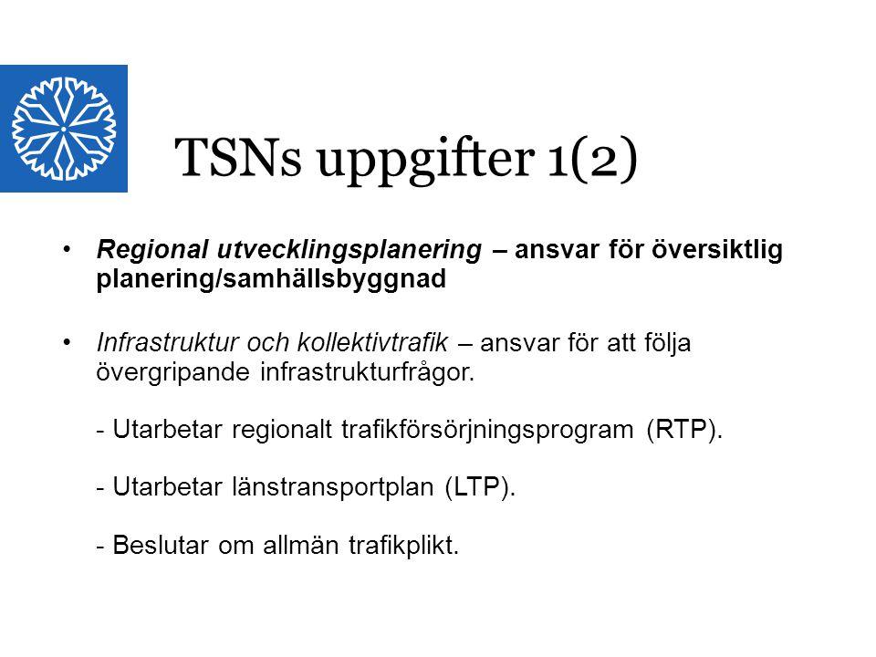 TSNs uppgifter 1(2) Regional utvecklingsplanering – ansvar för översiktlig planering/samhällsbyggnad.