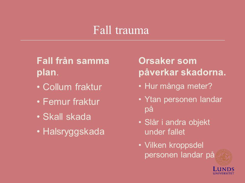 Fall trauma Fall från samma plan. Collum fraktur Femur fraktur