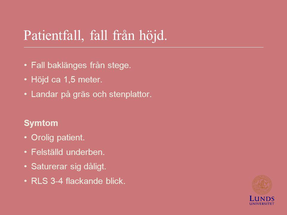 Patientfall, fall från höjd.