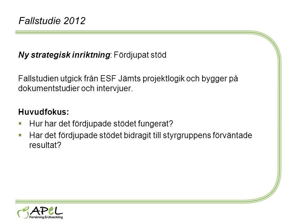 Fallstudie 2012 Ny strategisk inriktning: Fördjupat stöd