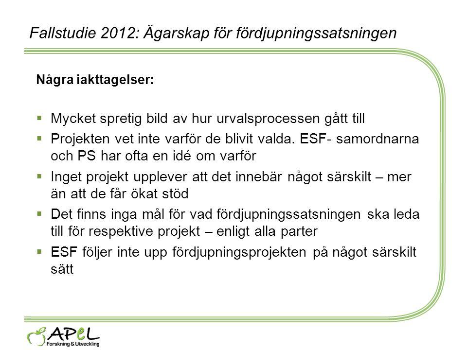 Fallstudie 2012: Ägarskap för fördjupningssatsningen