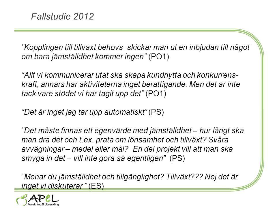Fallstudie 2012 Kopplingen till tillväxt behövs- skickar man ut en inbjudan till något om bara jämställdhet kommer ingen (PO1)
