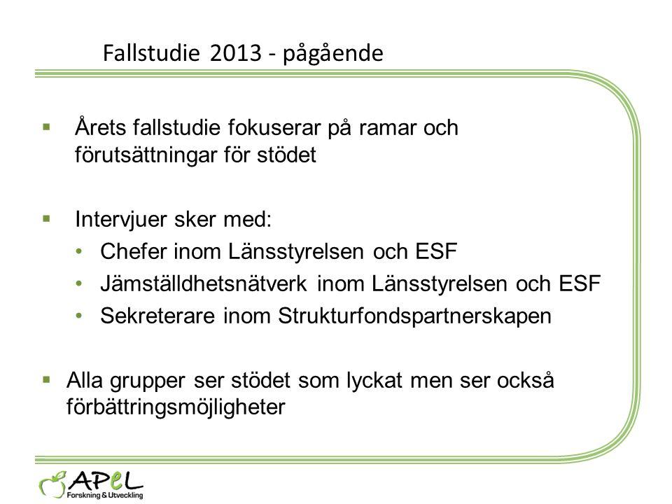 Fallstudie 2013 - pågående Årets fallstudie fokuserar på ramar och förutsättningar för stödet. Intervjuer sker med: