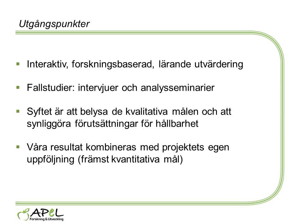 Utgångspunkter Interaktiv, forskningsbaserad, lärande utvärdering. Fallstudier: intervjuer och analysseminarier.