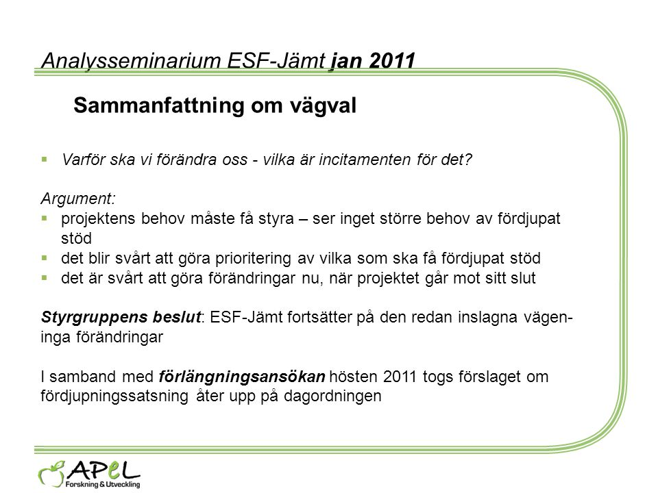 Analysseminarium ESF-Jämt jan 2011