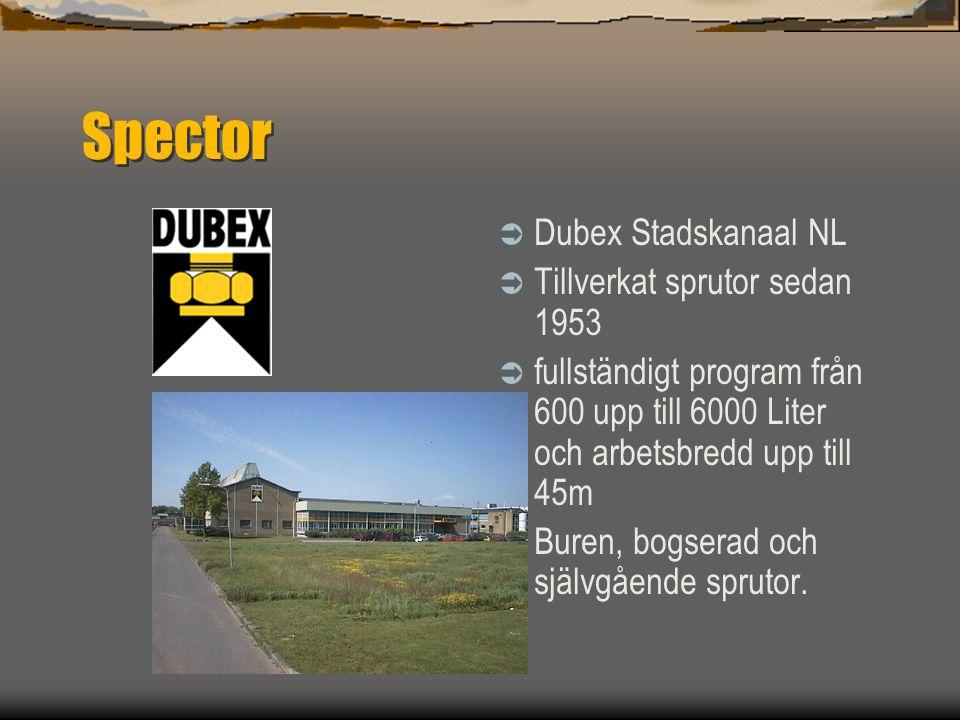 Spector Dubex Stadskanaal NL Tillverkat sprutor sedan 1953
