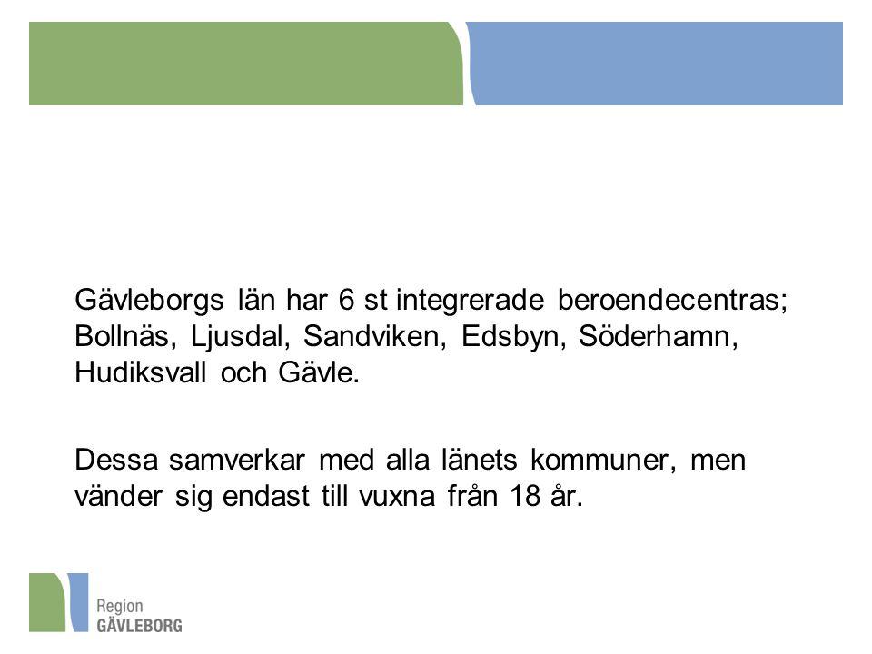 Gävleborgs län har 6 st integrerade beroendecentras; Bollnäs, Ljusdal, Sandviken, Edsbyn, Söderhamn, Hudiksvall och Gävle.