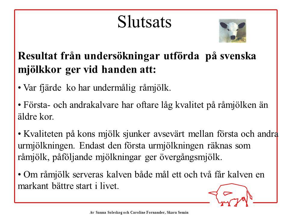 Slutsats Resultat från undersökningar utförda på svenska mjölkkor ger vid handen att: Var fjärde ko har undermålig råmjölk.