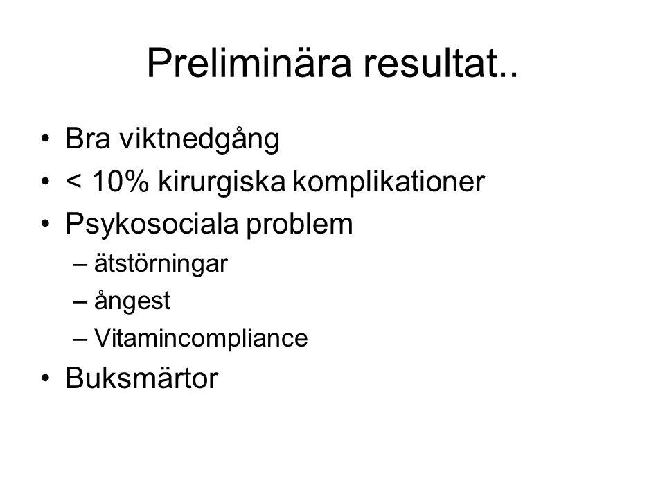 Preliminära resultat.. Bra viktnedgång