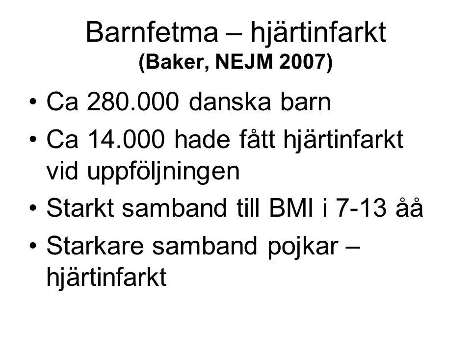 Barnfetma – hjärtinfarkt (Baker, NEJM 2007)