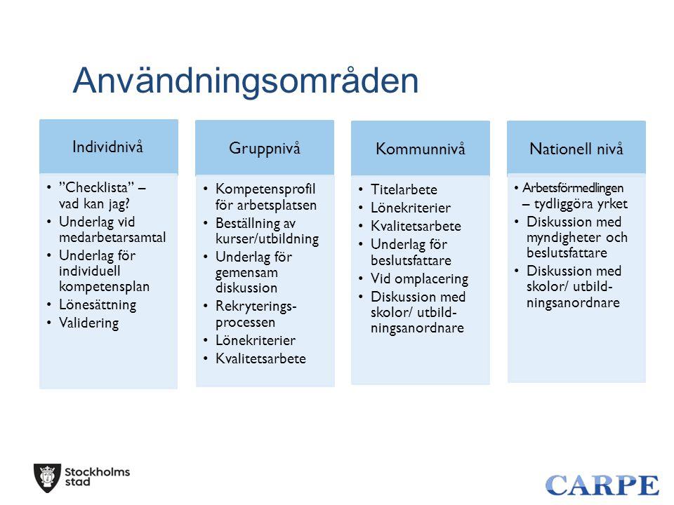 Användningsområden Individnivå Gruppnivå Kommunnivå Nationell nivå