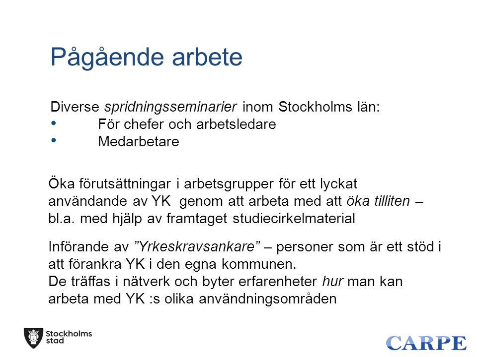 Pågående arbete Diverse spridningsseminarier inom Stockholms län: