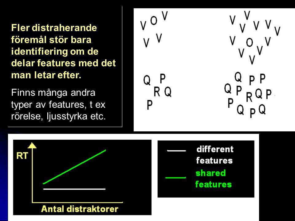 Fler distraherande föremål stör bara identifiering om de delar features med det man letar efter.