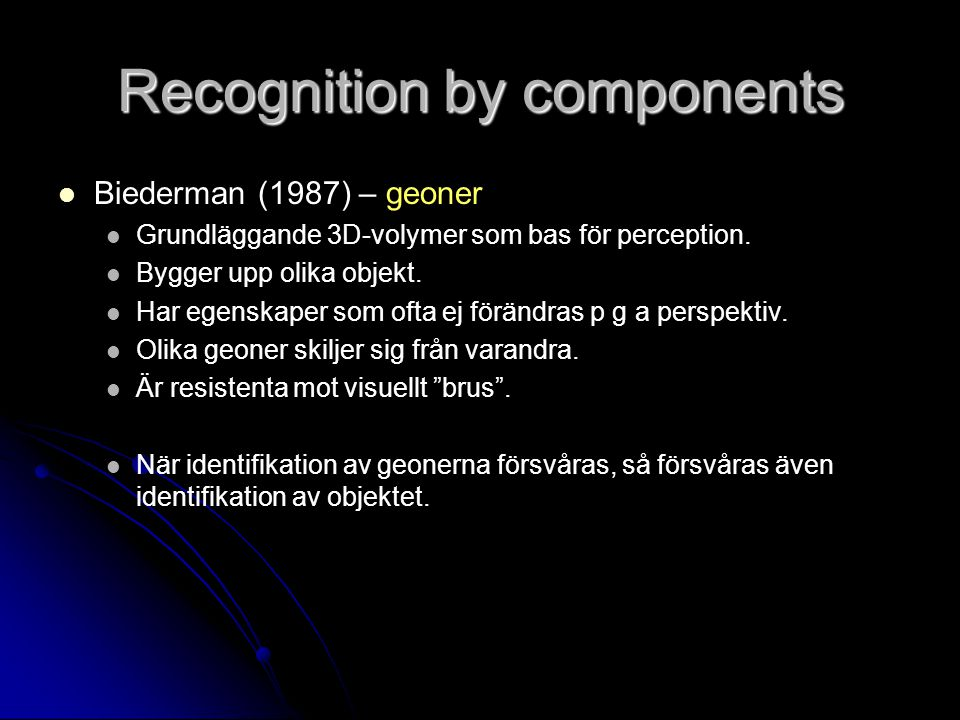 Recognition by components