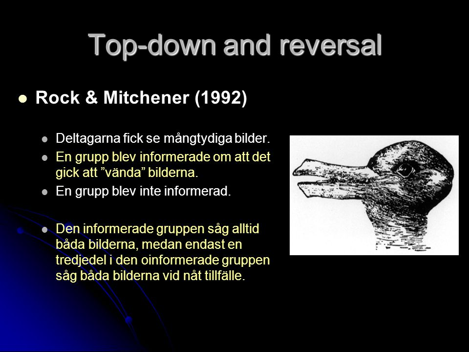 Top-down and reversal Rock & Mitchener (1992)