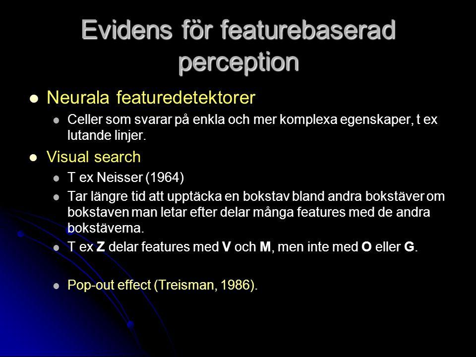 Evidens för featurebaserad perception