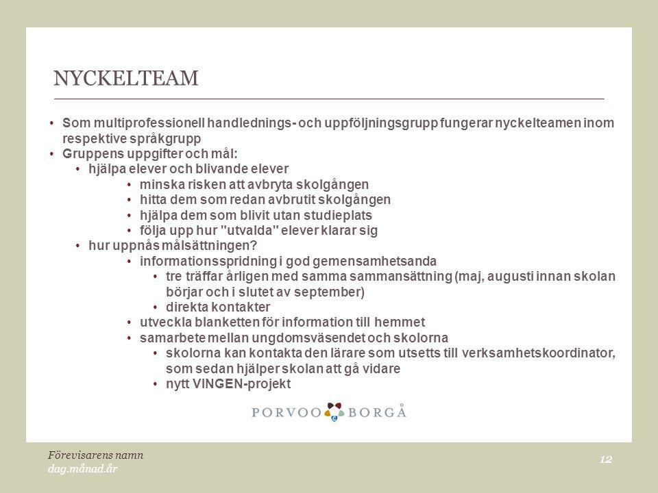 NYCKELTEAM Som multiprofessionell handlednings- och uppföljningsgrupp fungerar nyckelteamen inom respektive språkgrupp.