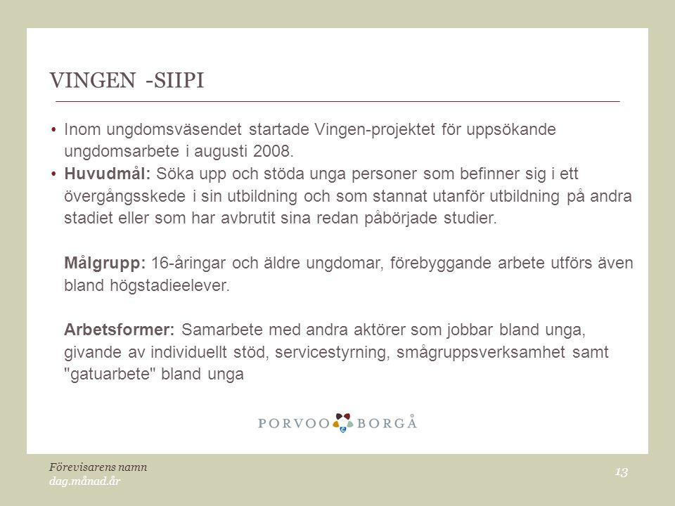 VINGEN -SIIPI Inom ungdomsväsendet startade Vingen-projektet för uppsökande ungdomsarbete i augusti 2008.