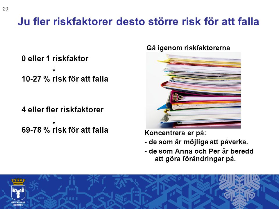 Ju fler riskfaktorer desto större risk för att falla