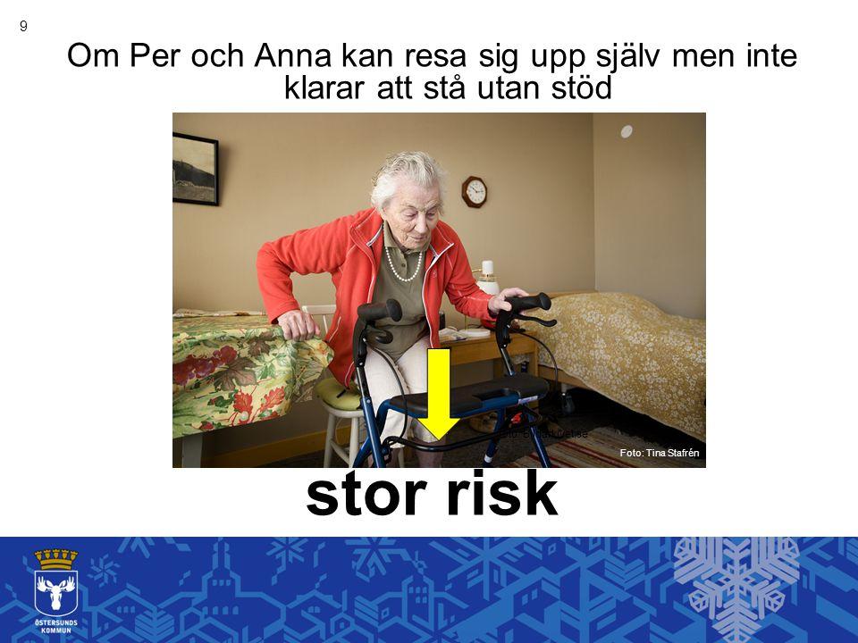 9 Om Per och Anna kan resa sig upp själv men inte klarar att stå utan stöd. stor risk. foto: Bildarkivet.se.