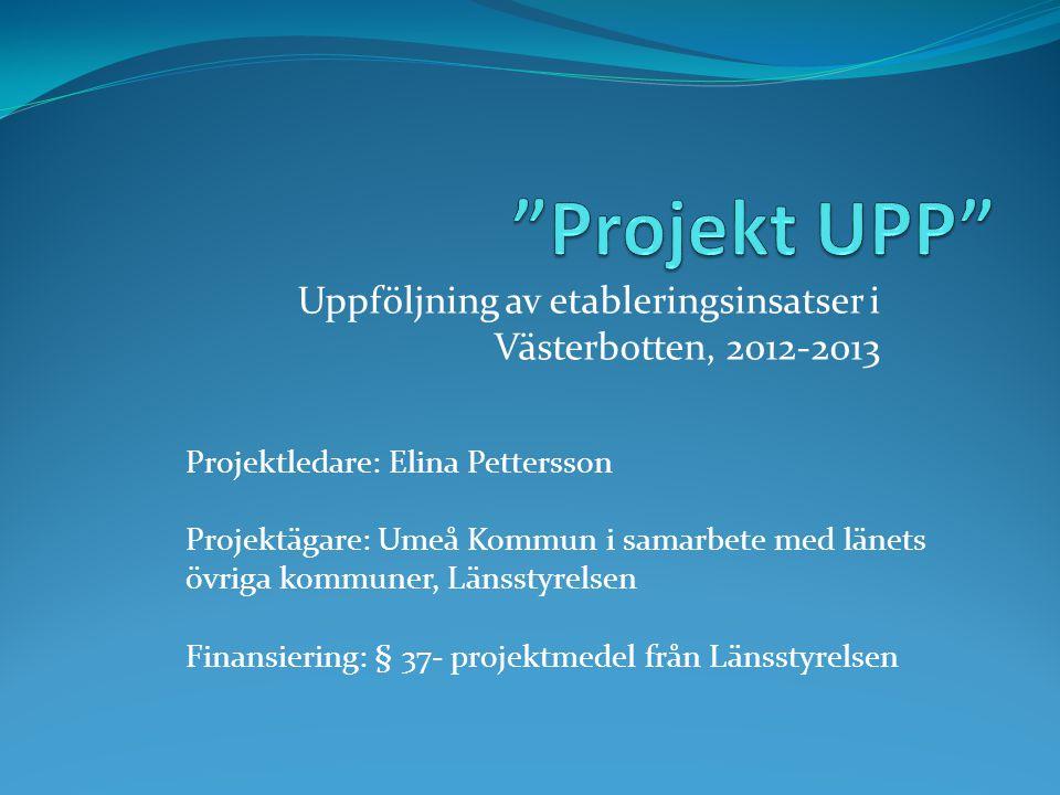 Uppföljning av etableringsinsatser i Västerbotten, 2012-2013