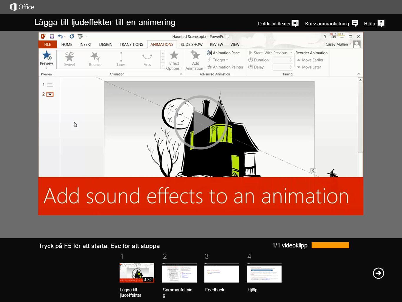 Lägga till ljudeffekter till en animering