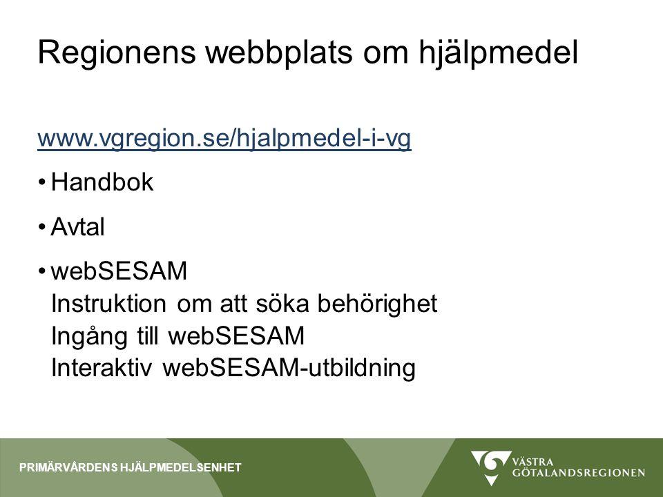 Regionens webbplats om hjälpmedel