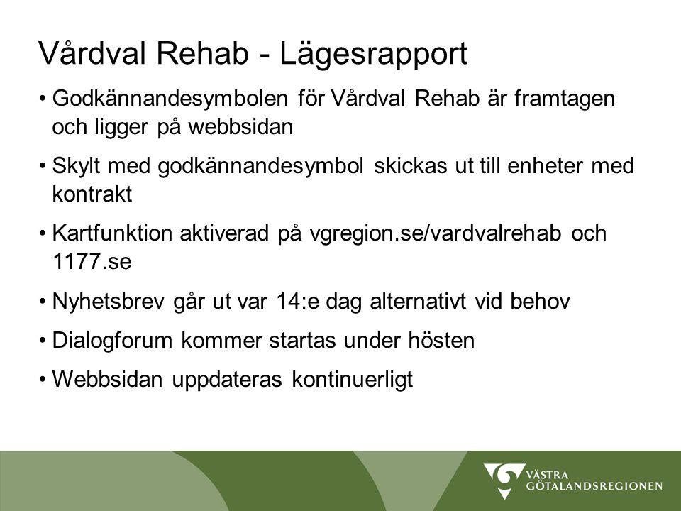 Vårdval Rehab - Lägesrapport