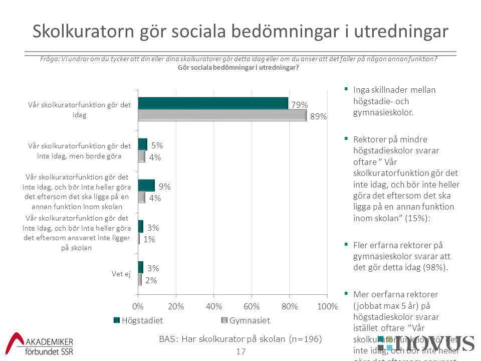 Skolkuratorn gör sociala bedömningar i utredningar