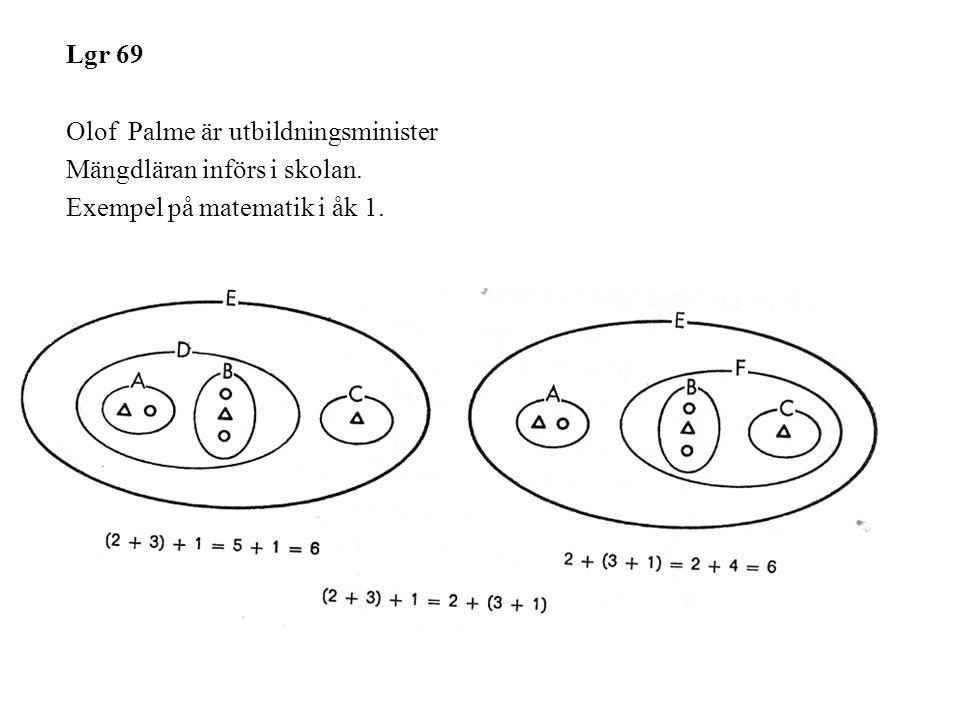 Lgr 69 Olof Palme är utbildningsminister Mängdläran införs i skolan.