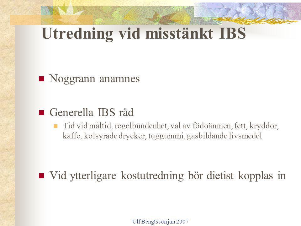 Utredning vid misstänkt IBS