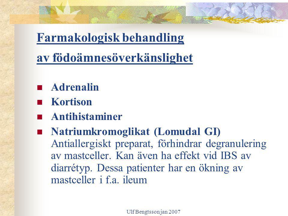 Farmakologisk behandling av födoämnesöverkänslighet