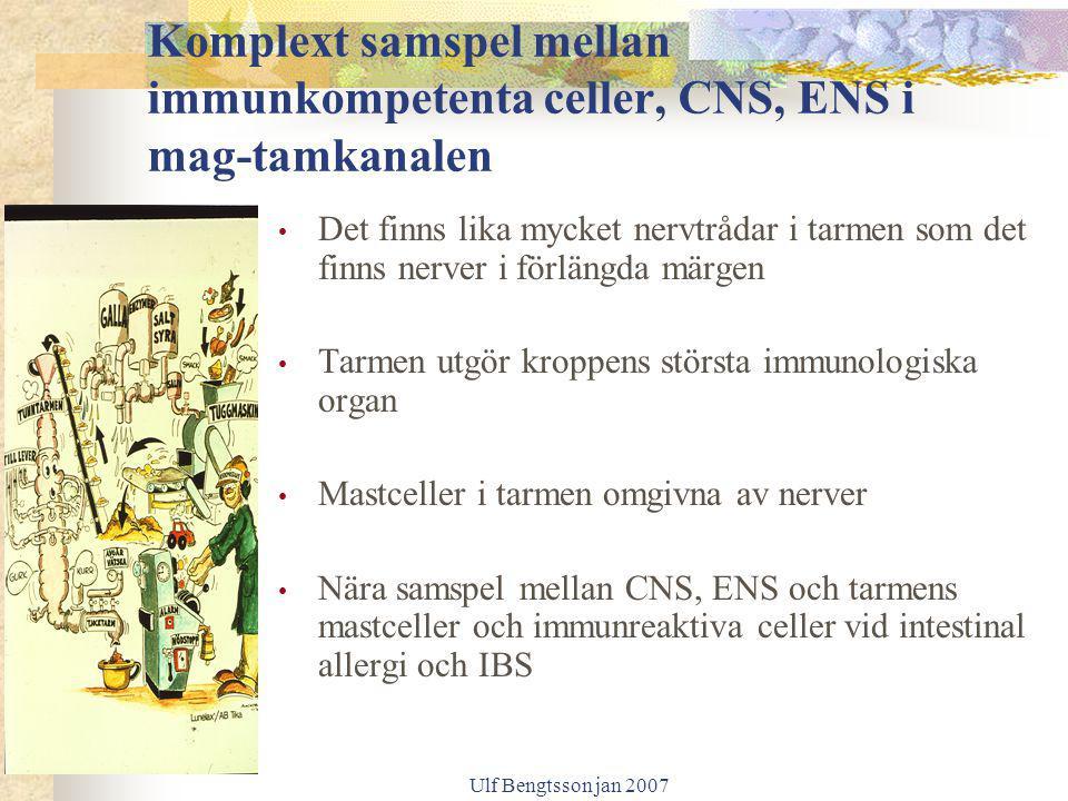 Komplext samspel mellan immunkompetenta celler, CNS, ENS i mag-tamkanalen