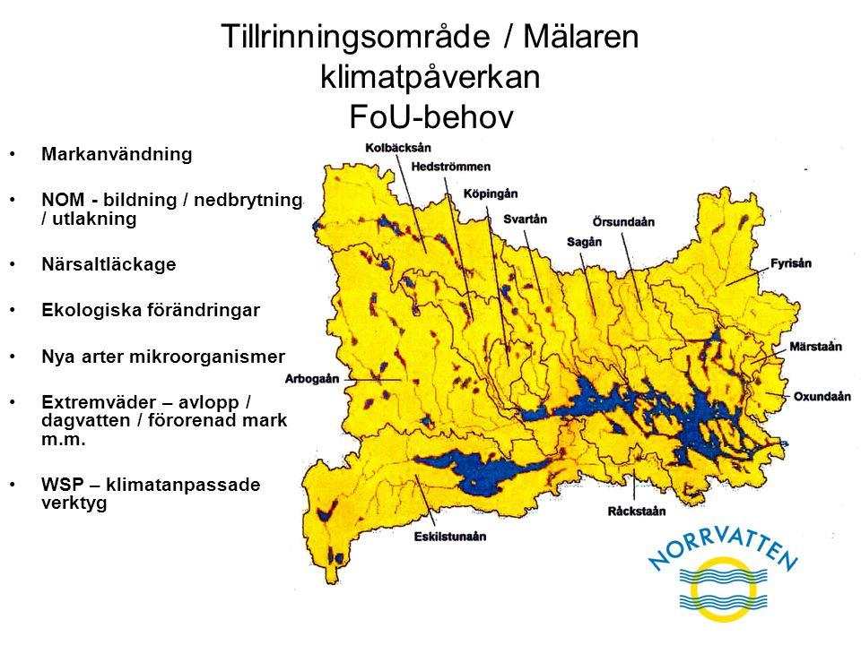 Tillrinningsområde / Mälaren klimatpåverkan FoU-behov