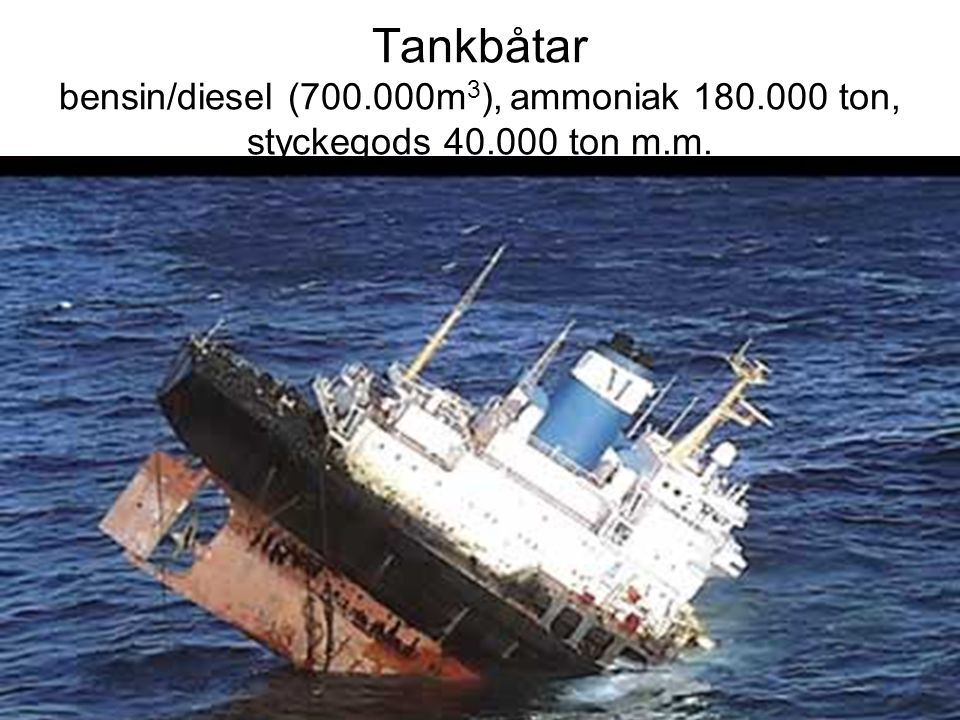 Tankbåtar bensin/diesel (700. 000m3), ammoniak 180