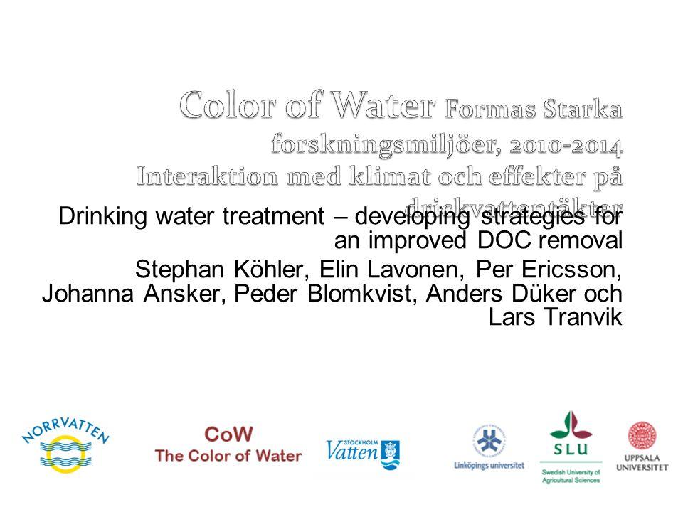 Color of Water Formas Starka forskningsmiljöer, 2010-2014 Interaktion med klimat och effekter på drickvattentäkter