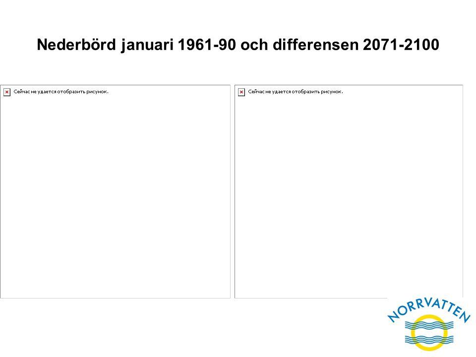 Nederbörd januari 1961-90 och differensen 2071-2100
