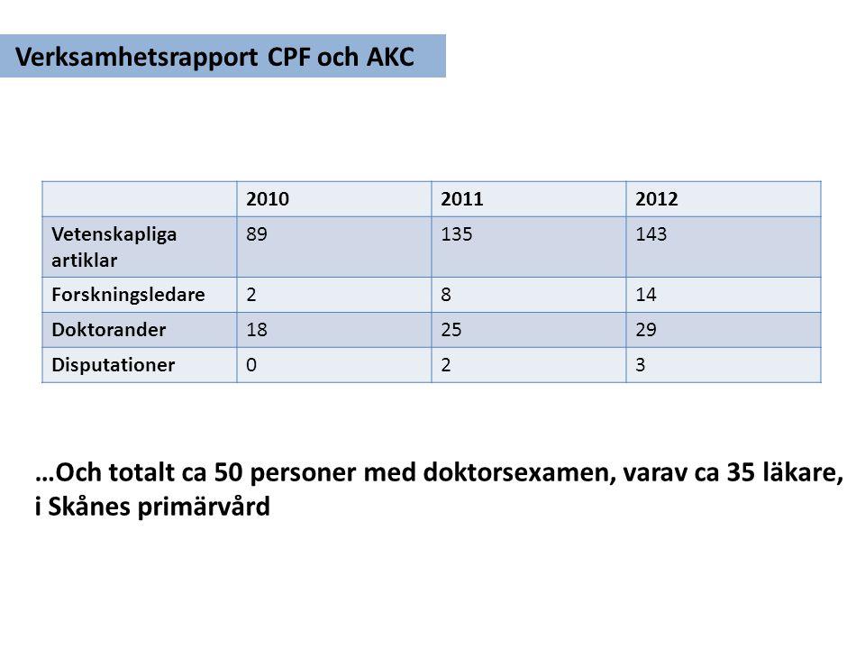 Verksamhetsrapport CPF och AKC
